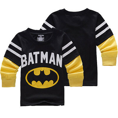 Baby Kids Boys Batman Superhero T-Shirt Long Sleeve Tee Shirt Basic Tee 2-7Y