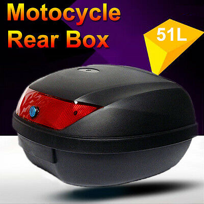 51L Motorcycle Universal Scooter Top Tail Box Rear Storage High Quality Black