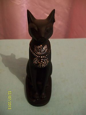 Bastet, Egyptian Cat, Black with gold tips, 130mm