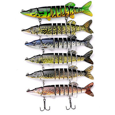 1pc ABS 3D Pike Muskie Fishing Bait Swimbait Lure Life-like Baby Multi-jointed