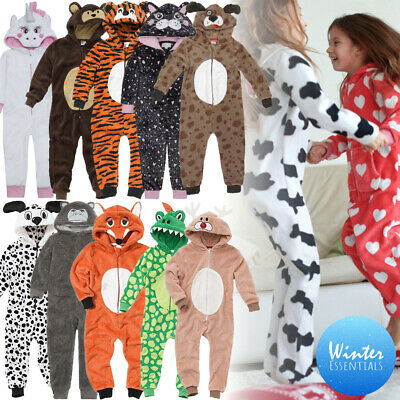 1Onesie Hooded Girls Boys 3D Animal All in One Fleece Playsuit Pyjamas Sleepsuit