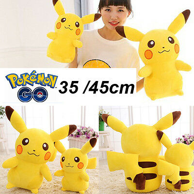 35cm/45cm Anime POKEMON Pikachu Soft Stuffed Plush Toy Kids Xmas Gift Teddy Doll