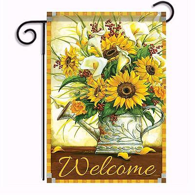 Sunflowers Callas Flower Garden Flag Floral Double Sided Home Wall Decor New