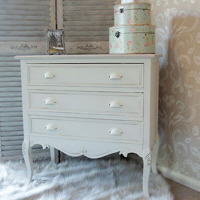 cream chest drawers bedside bedroom furniture country shabby french chic storage