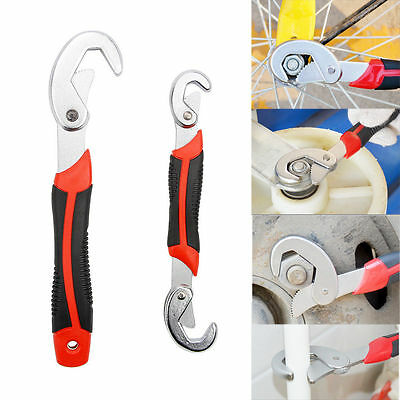 2x Multi-Function Adjustable Quick Snap'N Grip Universal Pipe Wrench Spanner Set