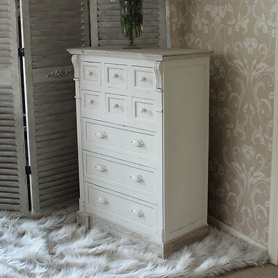 Cream Country Wooden Chest 9 Drawers Shabby Vintage Chic Style Bedroom Furniture