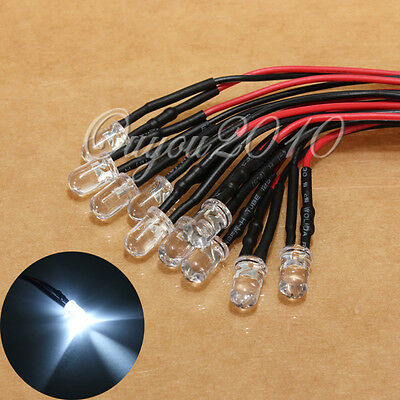 10pcs Pre wired 5mm LED Set Light Lamp Bulb 20cm Prewired DC 12V Day White New