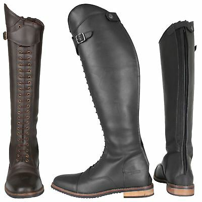 Horka Adults Waxed Buff Leather Linsey Shiny Back Zipper Horse Riding Boots