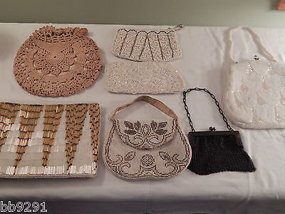 Lot of 7 Vintage Beaded Crocheted Metal Chain Purses