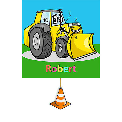 Personalised Digger Clock, Wall Clock, Pendulum Clock, Childrens Clock, Gifts