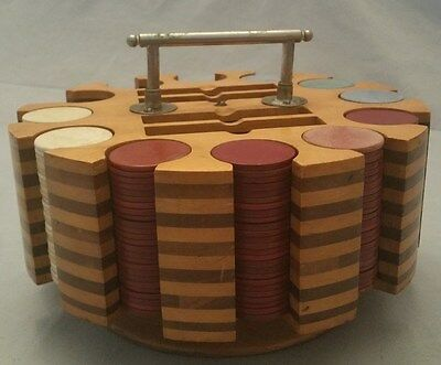 Vintage Clay Poker Chips With Wood Carousel ~ Over 250 Chips!