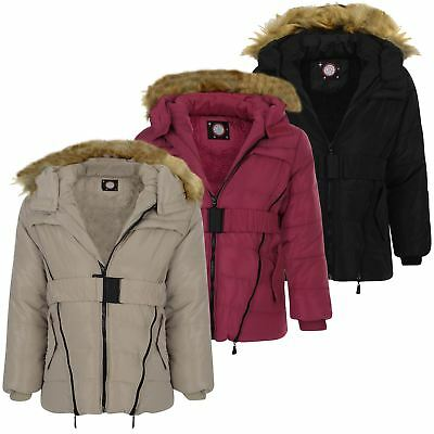 Girls Belted Detach Hood Quilted Jacket Kids Long Padded Winter Zip Coat 3-14 Y