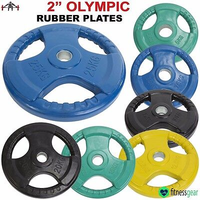 """Olympic Rubber Tri Grip Disc Colour Weight Plates Gym Training Barbell 2"""" Hole"""