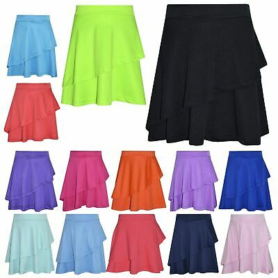 Girls Skirt Kids Plain Color Dance Double Layer Party Fashion Skirts 5-13 Year