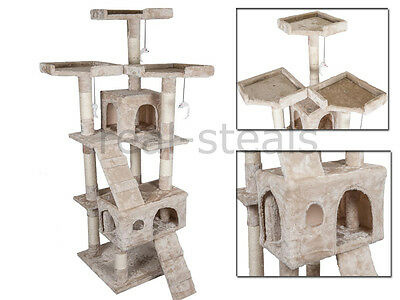 Beige Large Large Cat Tree Scratch Kitten Climb Post Sisal Toy House Activity