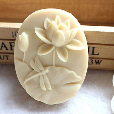 Dragonfly and Lotus Handmade Candle Soap Molds Oval Silicone Soap Making Mould