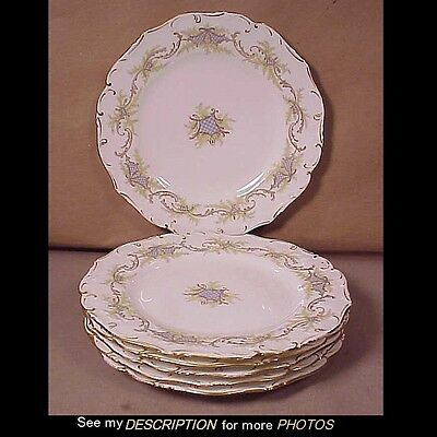6 Antique Brown Westhead & Moore England Porcelain Lunch Desert Plates Tiffany