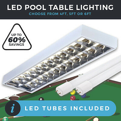 Billiard / Pool Table Led Lights Twin Lights With 2 X  Led Tubes 4Ft, 5Ft Or 6Ft