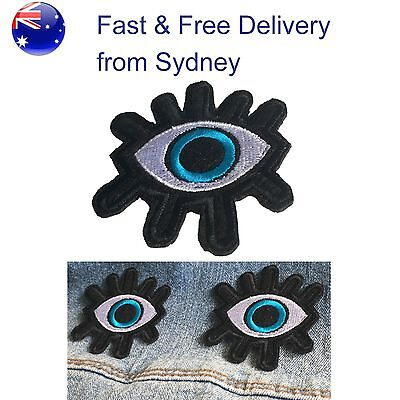 Intense Eye Iron on patch - Fast delivery for embroided blue eye with whimpers