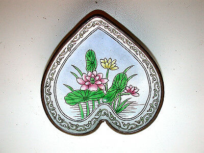 Stunning Antique Chinese Canton Famille Rose Floral Heart Enamel On Brass Dish