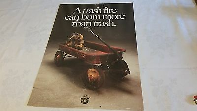 Smokey Bear Poster A Trash Fire Can Burn More Than Trash Government Issue 1970's