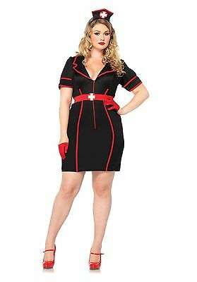 Leg Avenue PLUS SIZE Women's Night Nurse Black Naughty Dress Adult Costume