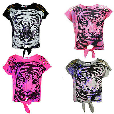 New Kids Girls Tiger Animal Face Foiled Shoulder Stud Effect Top  Age 7-13 Years