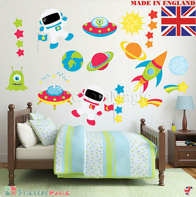 Space Rocket Wall Stickers Spaceman Theme Planets Childrens Boy Nursery Decal UK