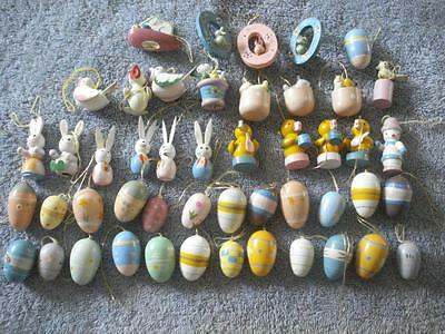 Vintage Lot Of 48 Hand Painted Wooden Easter Ornaments & Basket