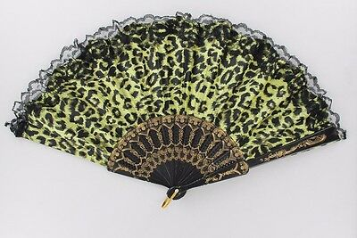 Lot of 12X Mixed Color Leopard Designs Decorative Oriental Lace Hand Fan