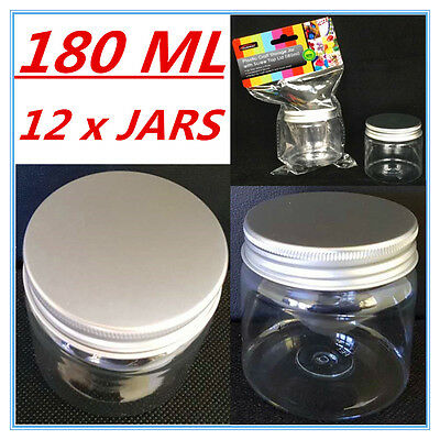 12 X Clear Plastic Screw Top Craft Project Storage Jars Jar Silver Lid 180Ml A
