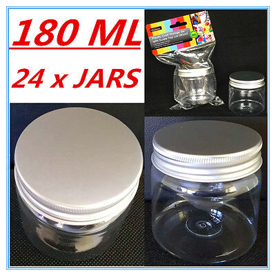 24 X Clear Plastic Screw Top Craft Project Storage Jars Jar Silver Lid 180Ml F