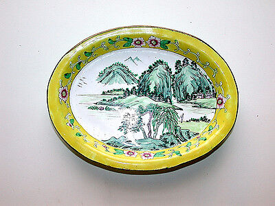 Stunning Chinese Canton Famille Rose Scenic Yellow Enamel On Brass Oval Tray