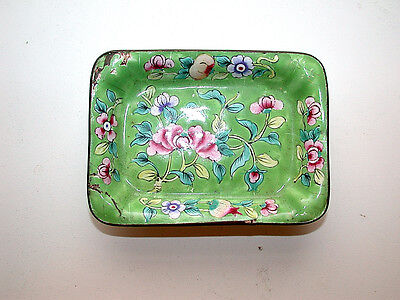 Lovely Antique Chinese Hand Enameled On Brass Floral Rectangle Pin Tray