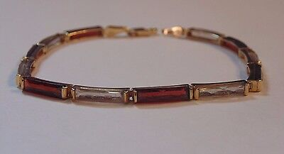 14k Solid Yellow Gold Alternating Garnet & Quartz Tennis Bracelet