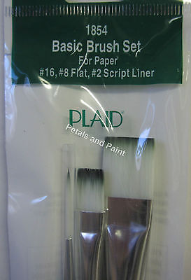 3 New Plaid  #16 & #8 Flat plus #2 Liner Paint Brush Nylon Bristle Paintbrushes
