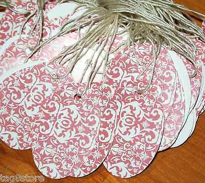"NEW 100 OVAL PINK DAMASK 1""X1-1/2  DesignerSale Price Tags STRUNG Retail Tagging"