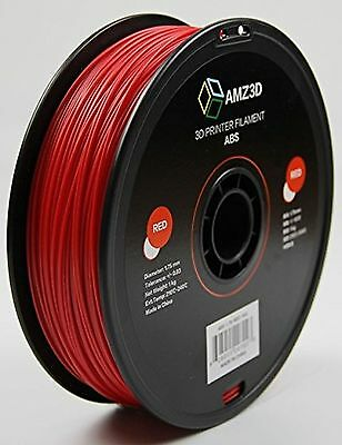AMZ3D 1.75mm Red ABS 3D Printer Filament - 1kg Spool (2.2 lbs)