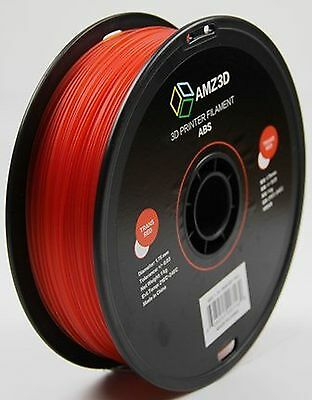 AMZ3D 1.75mm Trans Red ABS 3D Printer Filament - 1kg Spool (2.2 lbs)