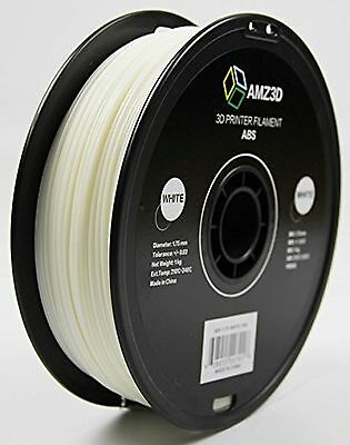AMZ3D 1.75mm White ABS 3D Printer Filament - 1kg Spool (2.2 lbs) - Dimensiona...