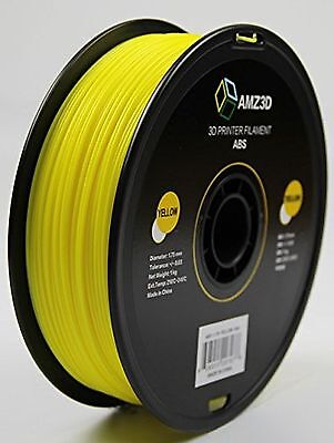 AMZ3D 1.75mm Yellow ABS 3D Printer Filament - 1kg Spool (2.2 lbs)