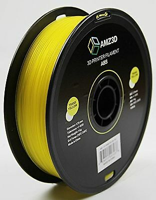AMZ3D 1.75mm Trans Yellow ABS 3D Printer Filament - 1kg Spool (2.2 lbs)