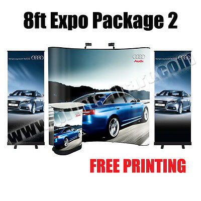 8'ft Expo Package Trade Show Pop Up Display Booth Banner Stand (Free Printing)