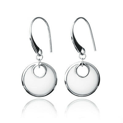 White Ceramic Earring Dangle 925 Sterling silver Leisure Office Cocktail Party