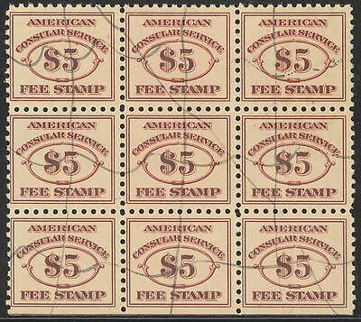 #rk13 $5 -- Rare Used -- Block Of 9 (Perhaps The Largest Known Multiple) Wlm2074