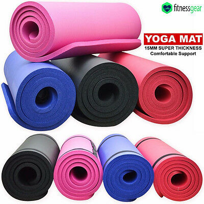 NBR 15mm Extra Thick Yoga Mat Fitness Exercise Gym Training Non-Slip Foam
