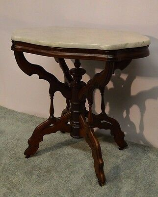 Antique 1800's  Carved Victorian  Walnut Parlor Marble Top Center Table