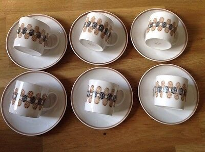 Retro Susie Cooper 6 Coffee Cans & Saucers  1960/70s