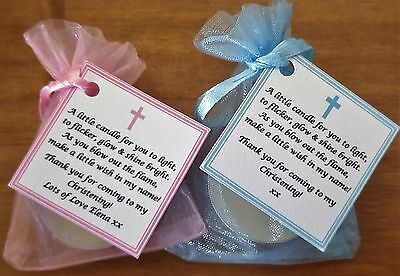 1-80 CHRISTENING / BAPTISM FAVOURS vanilla candle tealights - personalised