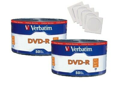 100 Kodak 16X Blank DVD-R DVDR 4.7GB Logo Top Media Disc with 100 Paper Sleeves
